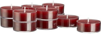 Crate & Barrel Set of 12 clear-cupped cranberry tealight candles.