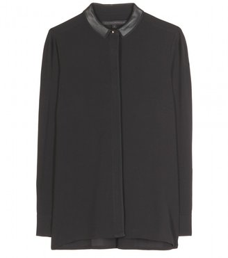 Victoria Beckham Denim BUTTON-DOWN WITH LEATHER COLLAR