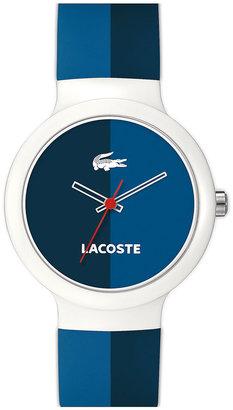 Lacoste 'Goa' Stripe Silicone Strap Watch