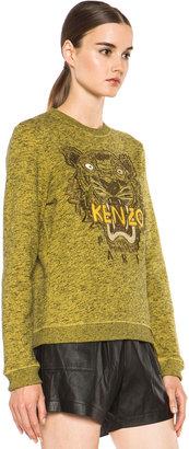 Kenzo Embroidered Tiger Marl Sweatshirt in Citron