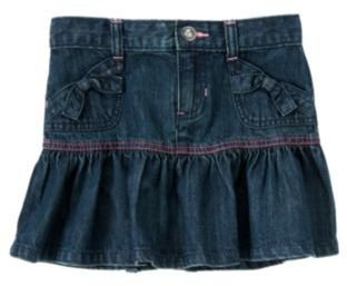 Crazy 8 Bow Pocket Ruffle Denim Skirt