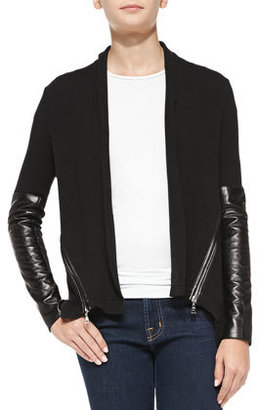 Milly Knit Leather-Sleeve Cardigan