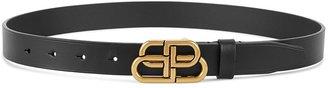 Balenciaga BB Thin Black Leather Belt
