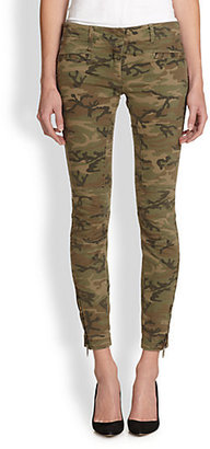 R 13 Camouflage-Print Cropped Skinny Moto Jeans