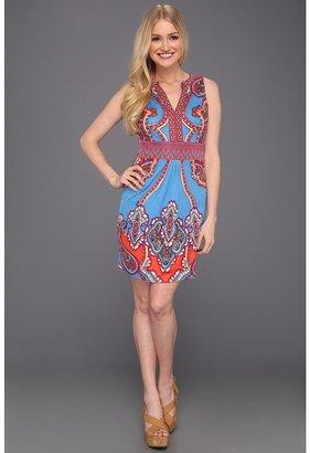 Hale Bob Julie S/L Silk Jersey Dress (Blue) - Apparel