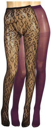 Betsey Johnson 2 Pack Solid/ Leopard Fishnet (Black/Charcoal) - Hosiery