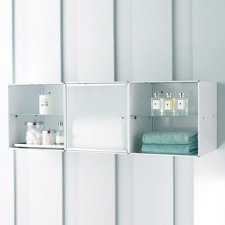 Container Store Wall-Mounted Enameled QBO Steel Cube Bath Cabinet