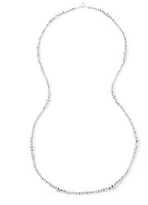 White House Black Market Long Silver Crystal Necklace
