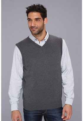 Nautica 12GG Solid Vest (Graphite Heather) Men's Clothing