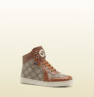 Gucci high-top lace-up sneaker with interlocking G detail.