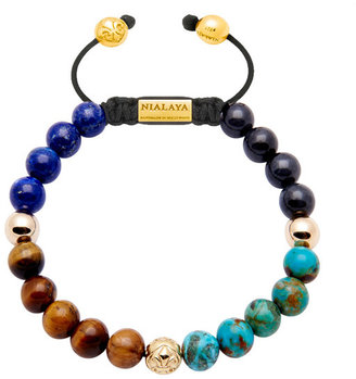Nialaya Jewelry - Men'S 14K Gold Collection - Blue Lapis, Tiger Eye, Bali Turquoise And Gold