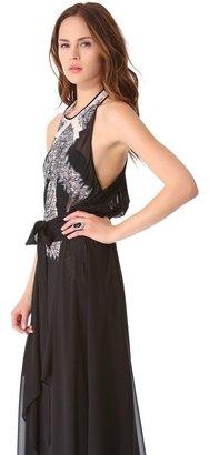BCBGMAXAZRIA Lace Print Gown
