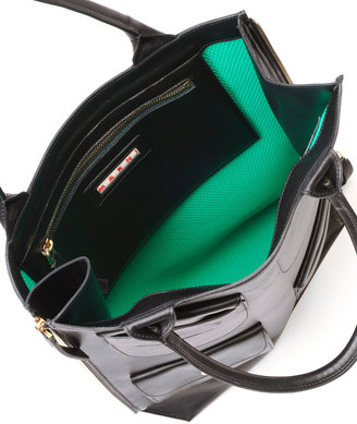 Marni Triple-Pocket Lambskin Tote Bag, Black
