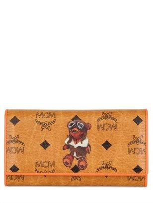 MCM Bear Printed Large Flap Wallet