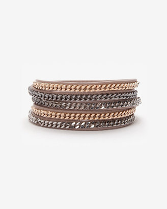 Vita Fede Leather Wrap Chain Bracelet