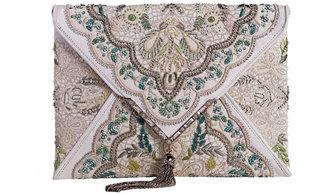 Marchesa Elisa Embroidered Irish Lace Clutch Bag