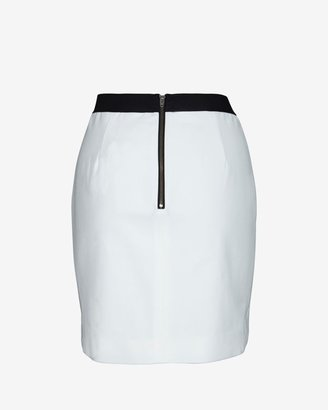 Mason by Michelle Mason Leather Front Ponte Skirt