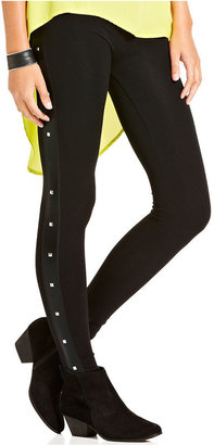 Material Girl Juniors Pants, Studded Faux-Leather-Panel Leggings