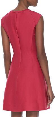 Halston Cap-Sleeve Cutout Dress