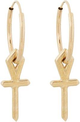 Wendy Nichol Gold Ankh Hoop Earrings-Colorless