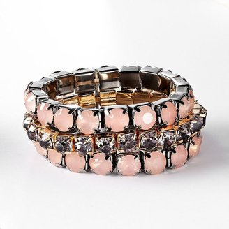 Vera Wang Simply vera two tone simulated crystal multistrand stretch bracelet