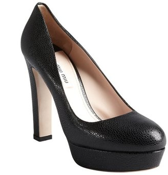 Miu Miu Black Pebbled Leather Platform Heels