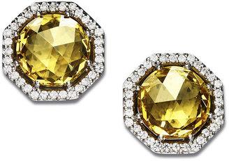 Arabella Sterling Silver Earrings, Yellow Swarovski Zirconia Stud Earrings (9-1/8 ct. t.w.)