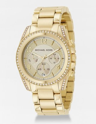 Michael Kors Crystal Pave Gold-Plated Chronograph Watch