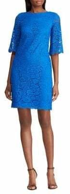 Lauren Ralph Lauren Elbow Sleeve Lace Dress