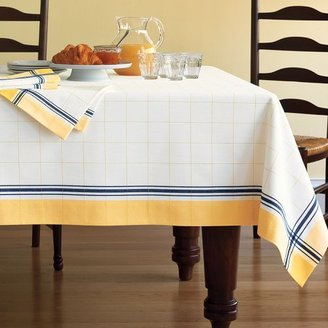 Williams-Sonoma Essential Tattersall Plaid Tablecloth, Blue and Yellow