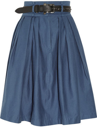 Preen Line Bianca high-waisted stretch cotton-drill skirt