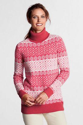 Lands' End Women's Petite Fair Isle Wool Blend Turtleneck Tunic
