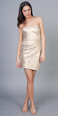 Nicole Miller Brocade Gold Strapless Dresses