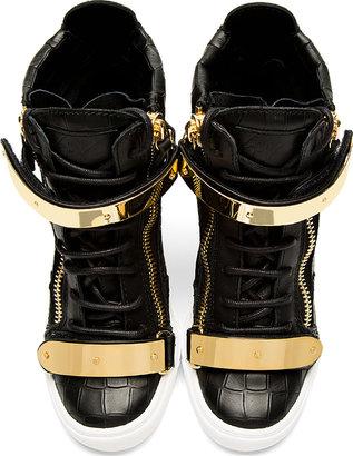 Giuseppe Zanotti Black Croc-Embossed Loren Z75 Wedge Sneakers