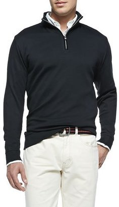 Peter Millar Cotton 1/2-Zip Pullover, Black $125 thestylecure.com