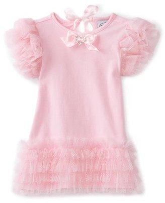 Mud Pie Baby-Girls Newborn Pretty In Pink Tiered Mesh Dress