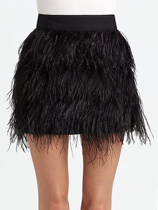 Milly Ostrich Feather-Trim Mini Skirt