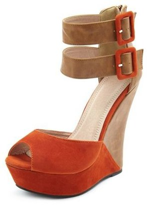 Charlotte Russe Double Buckle Color Block Wedge