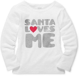 Carter's Kids Top, Little Girls Long-Sleeved Santa Loves Me Tee