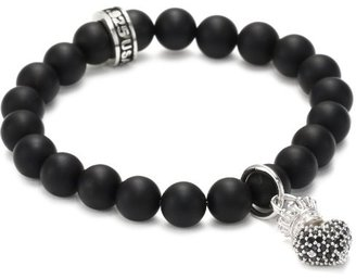 King Baby Black Onyx Bead and Black Cubic Zirconia Crowned-Heart Bracelet $175 thestylecure.com