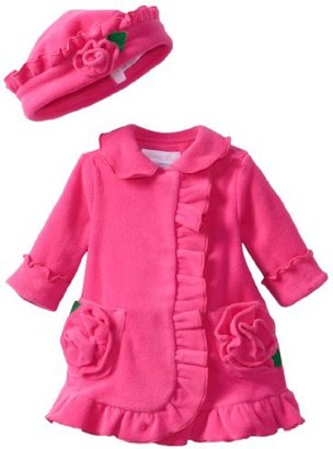 Bonnie Baby Baby-girls Ruffle Fleece Coat And Hat Set