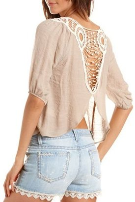 Charlotte Russe Crochet Back Woven Top
