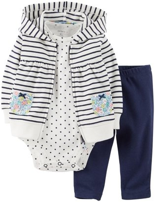 Carter's 2 Piece Striped Cardigan Set (Baby) - Navy-3 Months