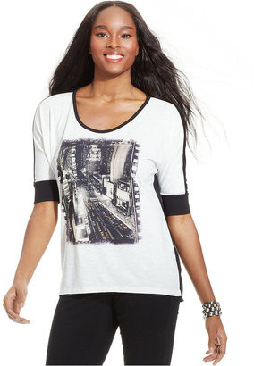 Style&Co. Graphic-Print Studded Tee