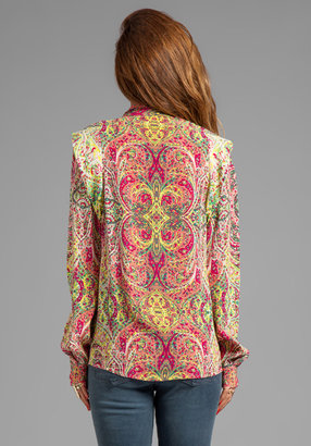 See by Chloe Long Sleeve Exaggerated Shoulder Button Up Blouse