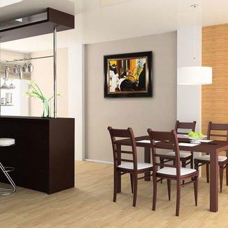 """Overstockart """"New York Restaurant"""" Framed Canvas Wall Art by Edward Hopper"""