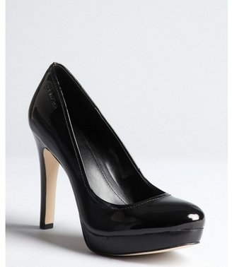 Calvin Klein black patent leather platform pumps