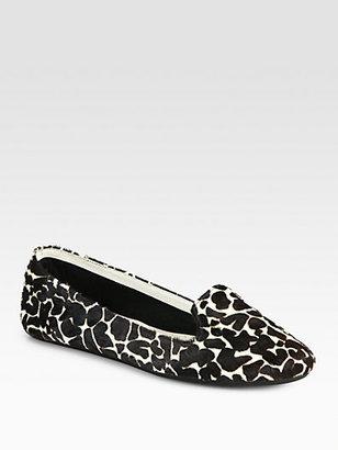 Charles Philip Shanghai Giraffe-Print Calf Hair Smoking Slippers