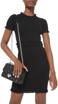 MICHAEL Michael Kors Short-Sleeve Fringe Textured Merino Wool Dress