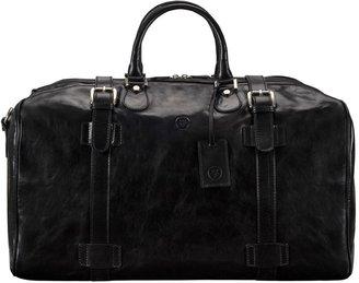Maxwell Scott Bags Maxwell Scott Mens Large Leather Travell Holdall - Flerol Black